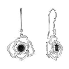 Floral Black Sapphire and Sterling Silver Earrings