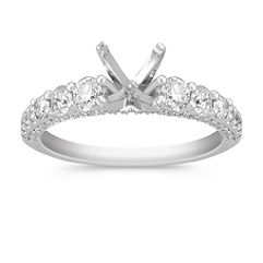 Pavé 14k White Gold Engagement Ring with 64 Diamonds