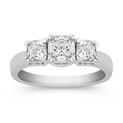 Cushion Cut Diamond Three-Stone Ring