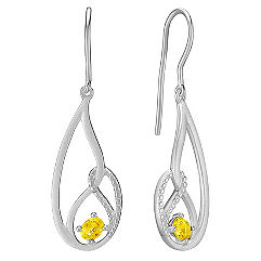 Oval Yellow Sapphire and Sterling Silver Earrings