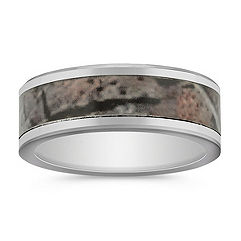 Camouflage Cobalt Comfort Fit Ring (8mm)