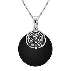 Black Agate and Sterling Silver Pendant (18 in.)