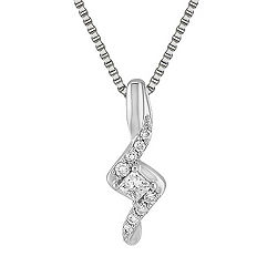 Princess Cut and Round Diamond Sterling Silver Pendant (18 in.)