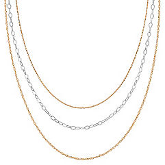 Yellow Sterling Silver & Sterling Silver Three Chain Set (20 in.)