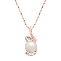 8mm Cultured Freshwater Pearl and Round Diamond Pendant in Rose Gold (18 in.)