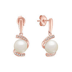 7.5mm Cultured Freshwater Pearl and Round Diamond Earrings in Rose Gold