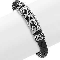 Braided Leather and Stainless Steel Bracelet (8.5 in.)