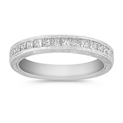 Princess Cut Diamond Wedding Band with Channel Setting