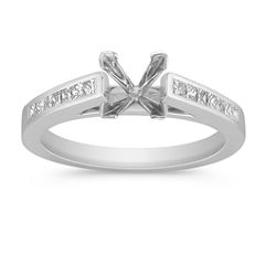 Cathedral Princess Cut Diamond Engagement Ring with Channel Setting