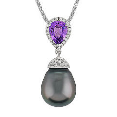 11mm Cultured Tahitian Pearl, Pear Shaped Lavender Sapphire, and Round Diamond Pendant (22 in.)