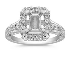 Vintage Halo Engagement Ring with Pavé Setting