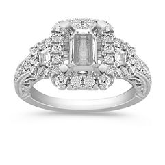 Halo Vintage Baguette and Round Diamond Engagement Ring with Pave Setting