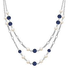 "Sodalite, Pearl and Sterling Silver Necklace (25"")"