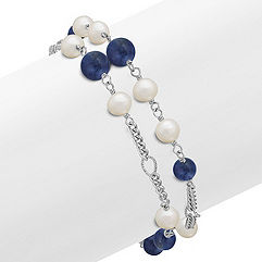 Sodalite, 6mm Cultured Freshwater Pearl and Sterling Silver Bracelet (7.5)