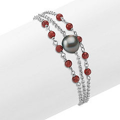 Garnet, 9mm Cultured Tahitian Pearl and Sterling Silver Bracelet (7.5 in.)