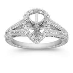 Pear Shaped Halo Diamond Engagement Ring with Pavé Setting