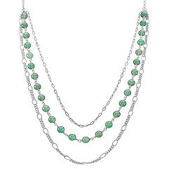 Green Aventurine and Sterling Silver Necklace (25 in.)