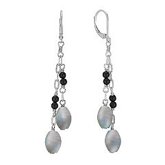 Grey Labradorite, Black Agate and Sterling Silver Earrings
