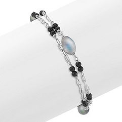 Grey Labradorite, Black Agate and Sterling Silver Bracelet (7.5 in.)
