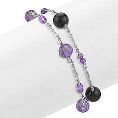 Amethyst, Charoite, Black Agate and Sterling Silver Bracelet (7.5)