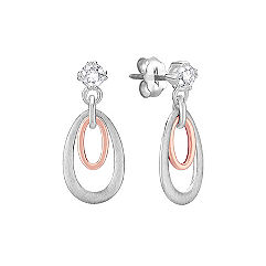 Round White Sapphire,Sterling Silver and 14k Rose Gold Earrings