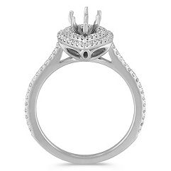 Pear Halo 14k White Gold Engagement Ring with 78 Pavé Set Diamonds
