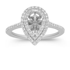 Pear Halo Diamond Engagement Ring with Pave Setting