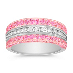 Round Pink Sapphire and Round Diamond Anniversary Band in 14k Rose and White Gold