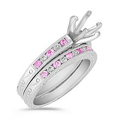 Vintage Round Pink Sapphire and Diamond Wedding Set