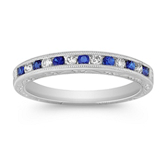 Round Sapphire and Diamond Platinum Ring