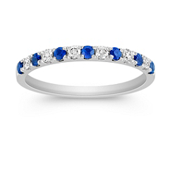 Sapphire and Diamond Platinum Anniversary Band
