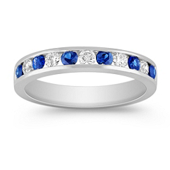 Sapphire and Diamond Platinum Wedding Band with Channel Setting