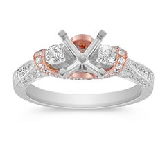 Vintage Round Diamond Engagement Ring in 14k Rose and White Gold with Pave Setting