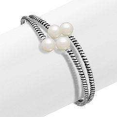 8.5mm Cultured Freshwater Pearl and Sterling Silver Bangle Bracelet (7)