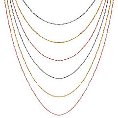 Colored Sterling Silver Multiple Chain Necklace (18 in.)