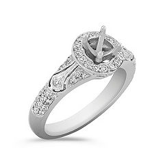 Halo Vintage Round Diamond Enagement Ring with Pavé Setting
