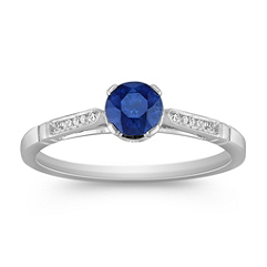 Round Sappire and Diamond Ring