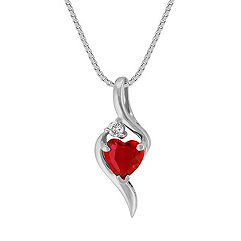 Heart Shaped Ruby and Round Diamond Pendant (18 in.)