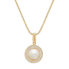 6.5mm Cultured Freshwater Pearl and Round Diamond Pendant (18)