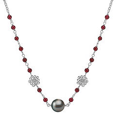 11mm Cultured Tahitian Pearl, Garnet, and Sterling Silver Necklace (18 in.)