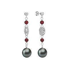 9mm Cultured Tahitian Pearl, Garnet, and Sterling Silver Dangle Earrings