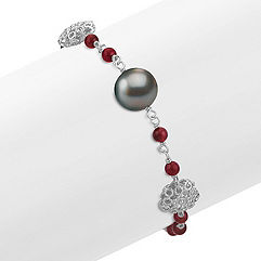Garnet, 10mm Cultured Tahitian Pearl, and Sterling Silver Bracelet (7.5 in.)