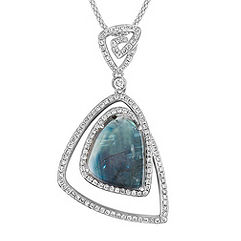 Freeform Blue Green Sapphire and Round Diamond Pendant (22 in.)