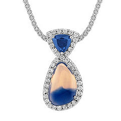 Freeform Multi-Colored Sapphire, Trillion Sapphire, and Round Diamond Pendant (18)