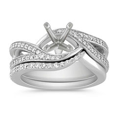 Swirl Diamond Wedding Set with Pavé Setting for Her