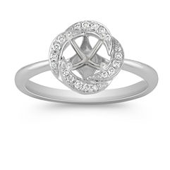 Round Diamond Ring with Pavé Setting