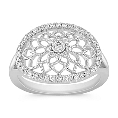 Round Diamond Floral Ring