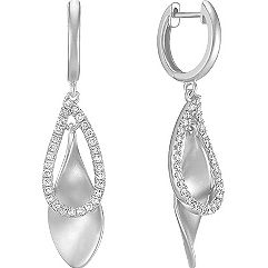 Round Diamond Teardrop Earrings