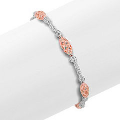 Round Diamond Bracelet in 14k White and Rose Gold (7)