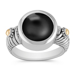Black Agate, 18k Yellow Gold and Sterling Silver Ring
